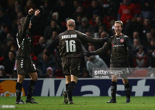 Jeppe Curth of Aalborg celebrates after scoring the second goal for Aalborg during the UEFA Champions League Group E match between Manchester United...