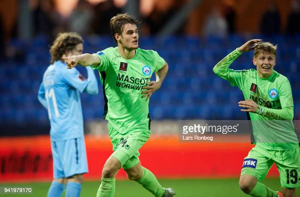 Jeppe Gertsen of Silkeborg IF celebrates after scoring their second goal during the Danish DBU Pokalen Cup quarterfinal match between Randers FC and...