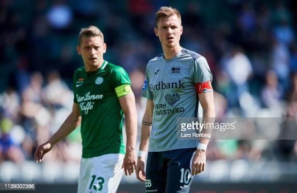 Jeppe Gronning of Viborg FF and Kristoffer Munksgaard of Nastved Boldklub during the Danish NordicBet Liga match between Viborg FF and Nastved...