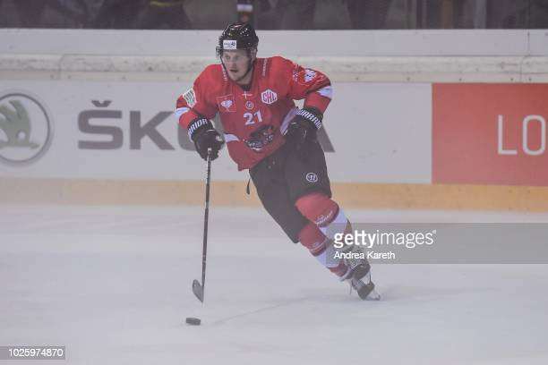 Jeppe Jul Korsgaard of Aalborg Pirates controls the puck during the Champions Hockey League match between Vienna Capitals and Aalborg Pirates at...
