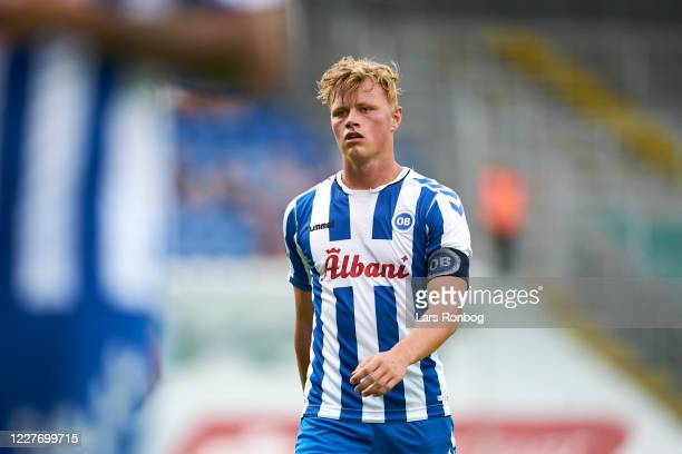Jeppe Tverskov of OB Odense looks on during the Danish 3F Superliga match between OB Odense and Randers FC at Nature Energy Park on July 19, 2020 in...
