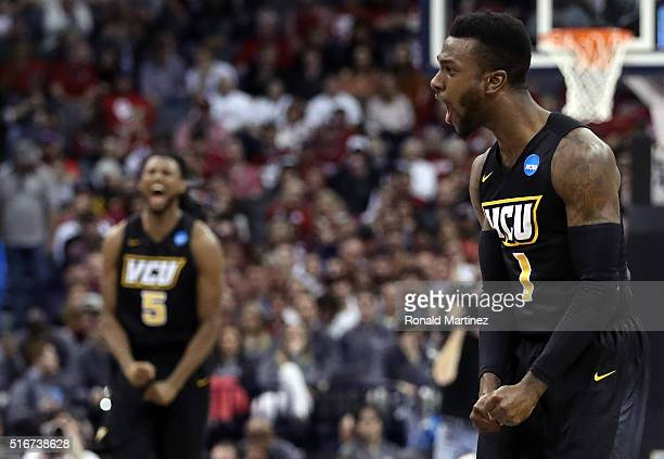JeQuan Lewis of the Virginia Commonwealth Rams celebrates a basket in the second half against the Oklahoma Sooners during the second round of the...