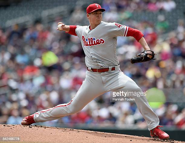 Jerad Eickhoff of the Philadelphia Phillies delivers a pitch against the Minnesota Twins during the first inning of the game on June 23 2016 at...