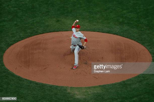 Jerad Eickhoff of the Philadelphia Phillies delivers a pitch during the first inning against the San Francisco Giants at ATT Park on August 19 2017...