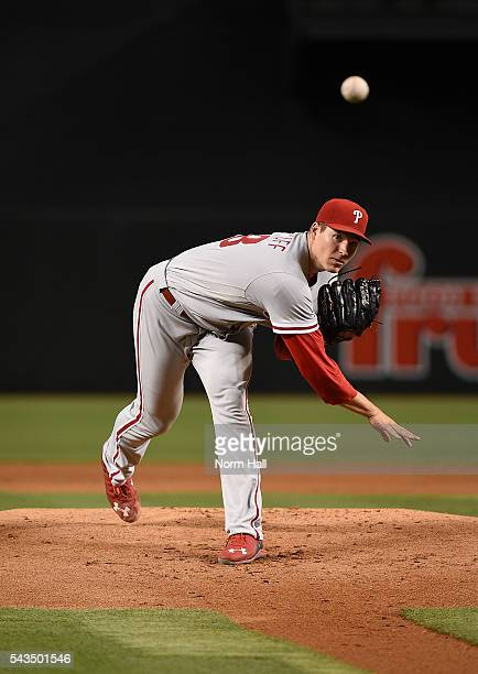 Jerad Eickhoff of the Philadelphia Phillies delivers a warm up pitch against the Arizona Diamondbacks during the first inning at Chase Field on June...