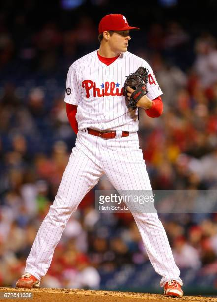 Jerad Eickhoff of the Philadelphia Phillies in action against the Atlanta Braves during a game at Citizens Bank Park on April 22 2017 in Philadelphia...