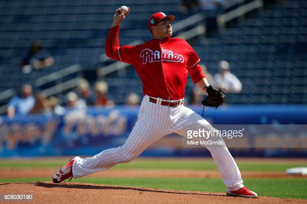 Jerad Eickhoff of the Philadelphia Phillies in action during the Spring Training game against the Detroit Tigers at Spectrum Field on February 27...