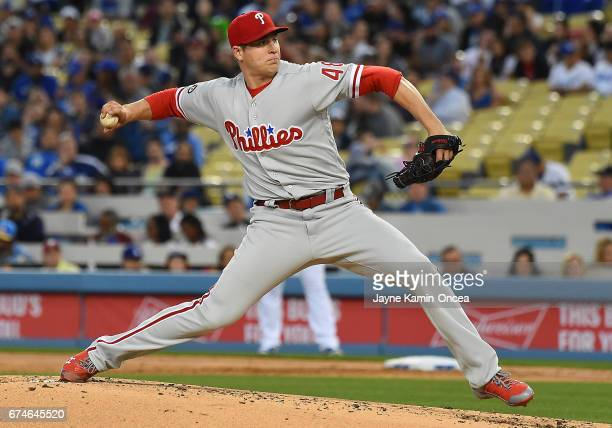 Jerad Eickhoff of the Philadelphia Phillies in the second inning of the game against the Los Angeles Dodgers at Dodger Stadium on April 28 2017 in...