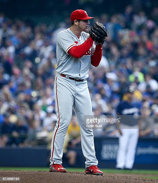 Jerad Eickhoff of the Philadelphia Phillies pitches against the Milwaukee Brewers at Miller Park on April 24 2016 in Milwaukee Wisconsin