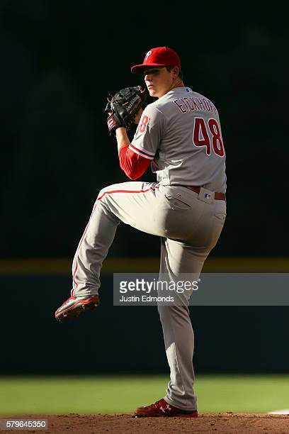 Jerad Eickhoff of the Philadelphia Phillies pitches against the Colorado Rockies at Coors Field on July 9 2016 in Denver Colorado
