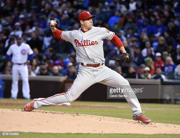 Jerad Eickhoff of the Philadelphia Phillies pitches against the Chicago Cubs during the first inning on May 3 2017 at Wrigley Field in Chicago...