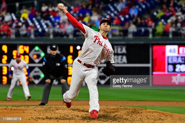 Jerad Eickhoff of the Philadelphia Phillies pitches against the Miami Marlins during the fifth inning at Citizens Bank Park on April 26 2019 in...