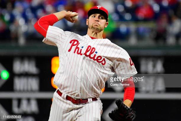 Jerad Eickhoff of the Philadelphia Phillies pitches against the Miami Marlins during the third inning at Citizens Bank Park on April 26 2019 in...