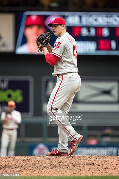 Jerad Eickhoff of the Philadelphia Phillies pitches against the Minnesota Twins on June 23 2016 at Target Field in Minneapolis Minnesota The Phillies...