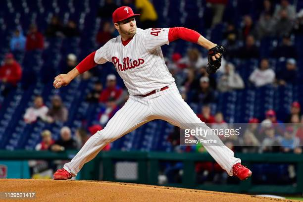 Jerad Eickhoff of the Philadelphia Phillies pitches during the first inning against the Miami Marlins at Citizens Bank Park on April 26 2019 in...