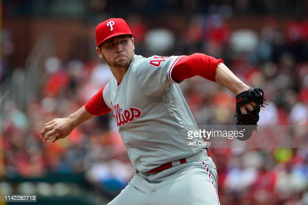 Jerad Eickhoff of the Philadelphia Phillies pitches during the first inning against the St Louis Cardinals at Busch Stadium on May 8 2019 in St Louis...