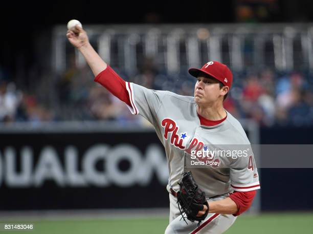Jerad Eickhoff of the Philadelphia Phillies pitches during the first inning of a baseball game against the San Diego Padres at PETCO Park on August...