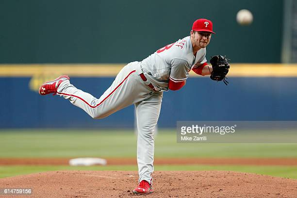 Jerad Eickhoff of the Philadelphia Phillies pitches during the game against the Atlanta Braves at Turner Field on May 11 2016 in Atlanta Georgia