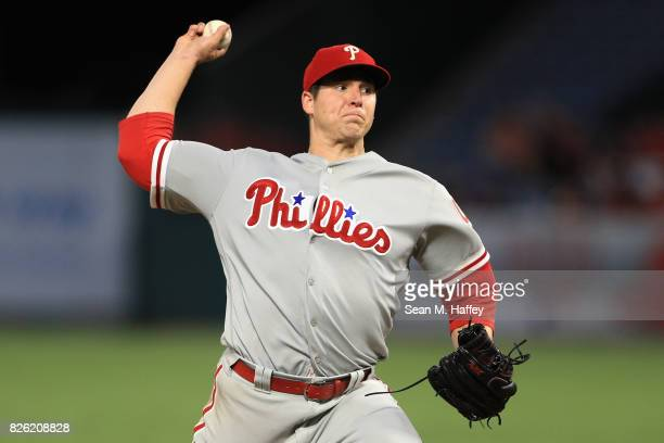 Jerad Eickhoff of the Philadelphia Phillies pitches during the second inning of a game against the Los Angeles Angels of Anaheim at Angel Stadium of...