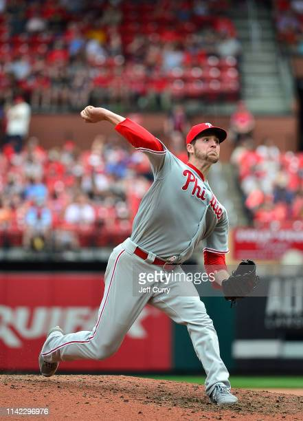 Jerad Eickhoff of the Philadelphia Phillies pitches during the seventh inning against the St Louis Cardinals at Busch Stadium on May 8 2019 in St...