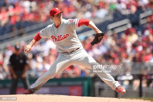 Jerad Eickhoff of the Philadelphia Phillies pitches in the first inning during a baseball game against the Washington Nationals at Nationals Park on...