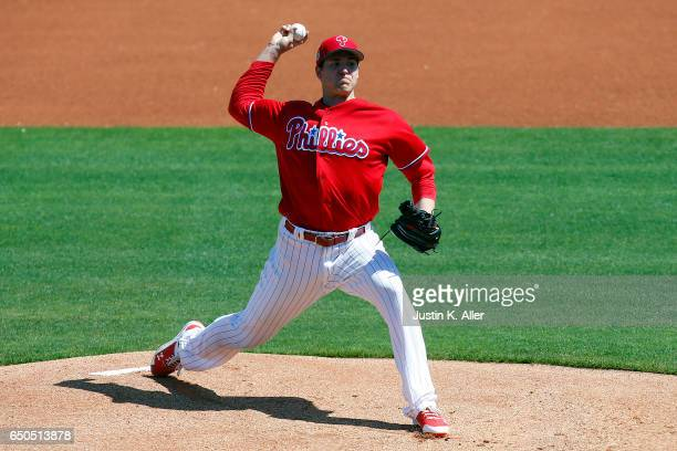 Jerad Eickhoff of the Philadelphia Phillies pitches in the first inning against the Toronto Blue Jays on March 9 2017 at Spectrum Field in Clearwater...