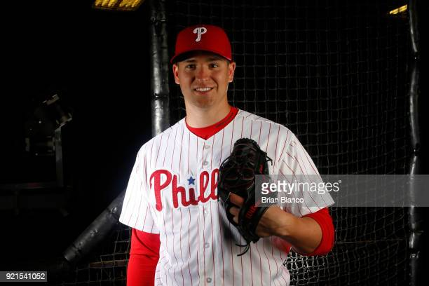Jerad Eickhoff of the Philadelphia Phillies poses for a portrait on February 20 2018 at Spectrum Field in Clearwater Florida