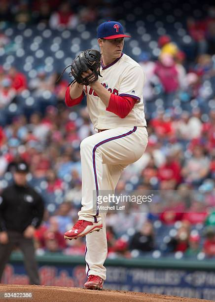 Jerad Eickhoff of the Philadelphia Phillies throws a pitch against the Atlanta Braves at Citizens Bank Park on May 22 2016 in Philadelphia...