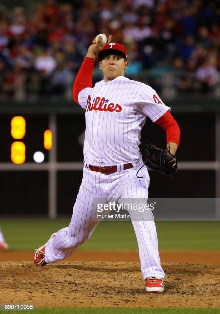 Jerad Eickhoff of the Philadelphia Phillies throws a pitch during a game against the Seattle Mariners at Citizens Bank Park on May 9 2017 in...