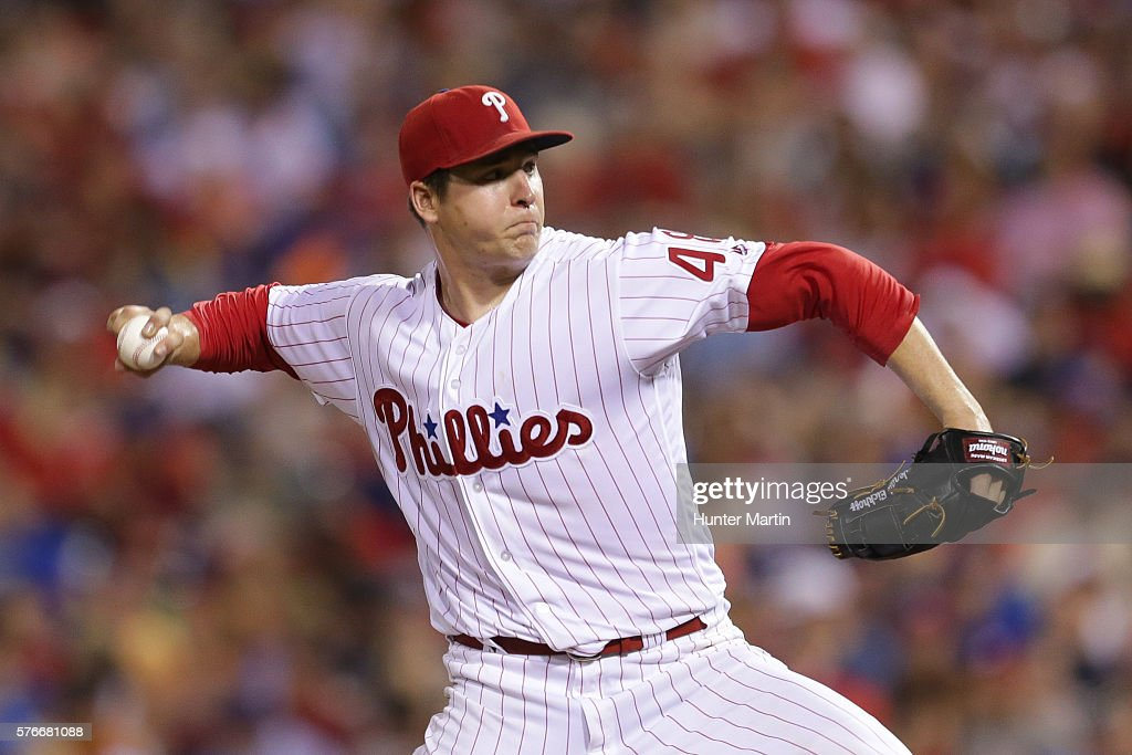 Jerad Eickhoff #48 of the Philadelphia Phillies throws a pitch in the seventh inning during a game against the New York Mets at Citizens Bank Park on July 16, 2016 in Philadelphia, Pennsylvania. The Phillies won 4-2.