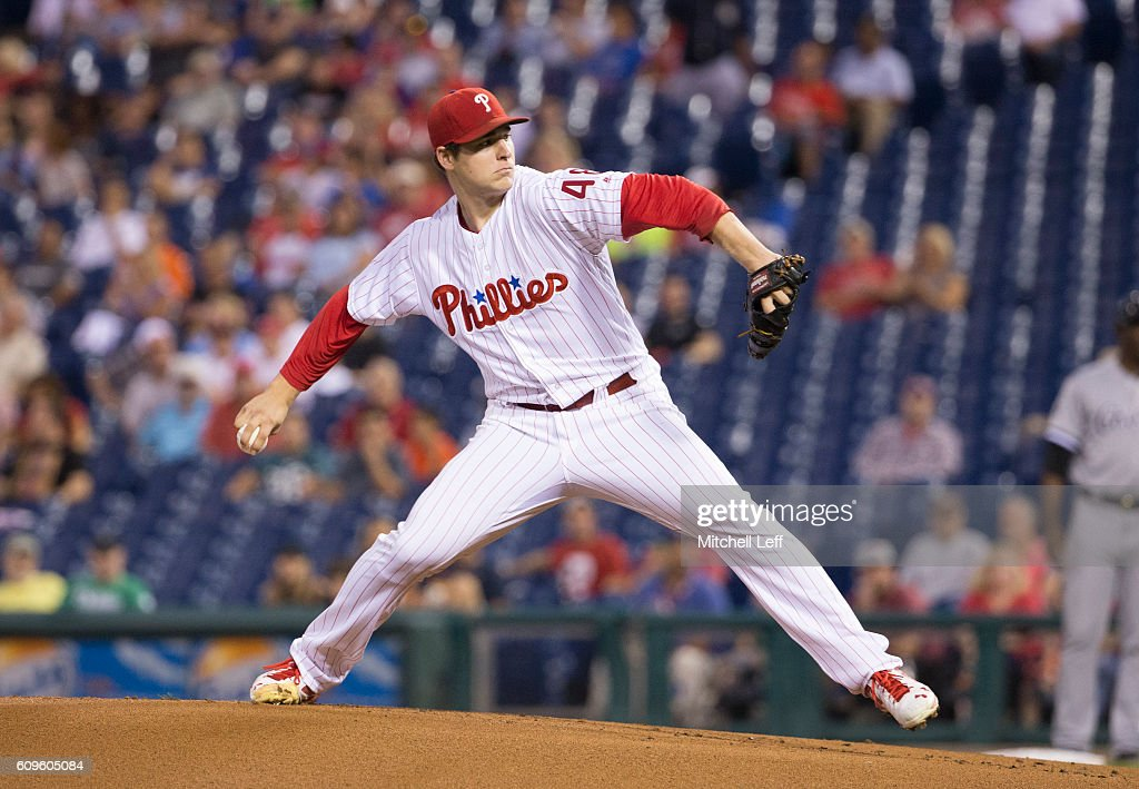Jerad Eickhoff #48 of the Philadelphia Phillies throws a pitch in the top of the first inning against the Chicago White Sox at Citizens Bank Park on September 21, 2016 in Philadelphia, Pennsylvania.