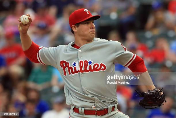 Jerad Eickhoff of the Philadelphia Phillies throws against the Texas Rangers in the first inning at Globe Life Park in Arlington on May 16 2017 in...