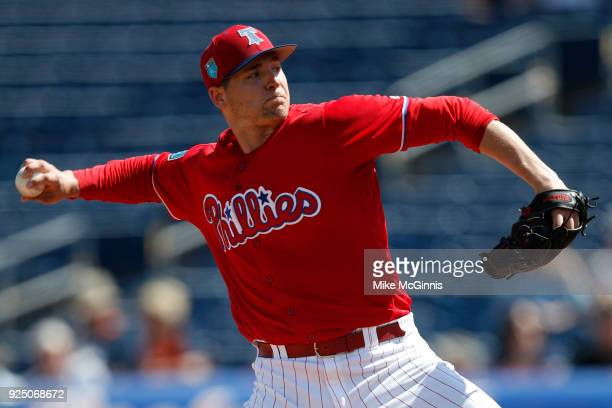 Jerad Eickoff of the Philadelphia Phillies pitches during the first inning of the Spring Training game against the Detroit Tigers at Spectrum Field...