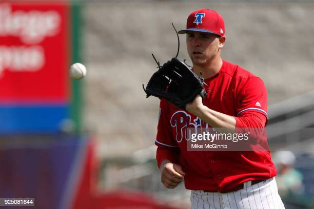 Jerad Eickoff of the Philadelphia Phillies pitches during the second inning of the Spring Training game against the Detroit Tigers at Spectrum Field...
