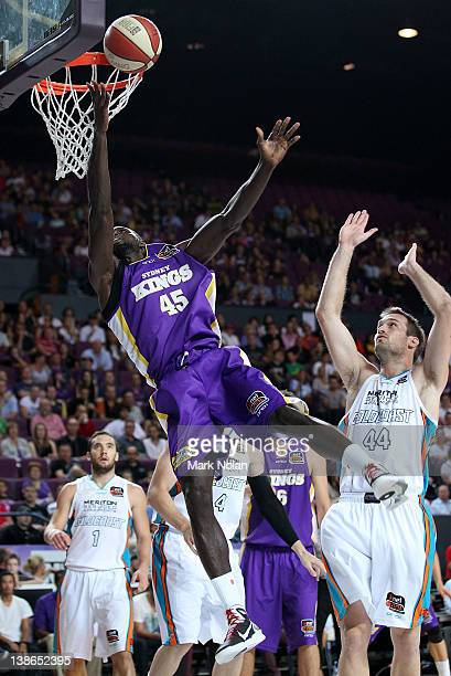 Jerai Grant of the Kings drives to the basket during the round 19 NBL match between the Sydney Kings and the Gold Coast Blaze at Sydney Entertainment...