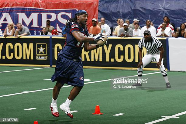 Jerald Brown of the Columbus Destroyers competes during the Arena Bowl XX Players Skill Competition at the Thomas Mack Center in Las Vegas Nevada on...