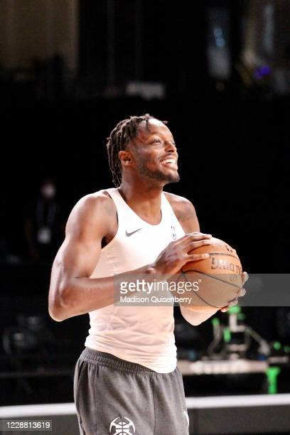 Jerami Grant of the Denver Nuggets smiles before the game against the Los Angeles Lakers during Game Five of the Western Conference Finals of the NBA...