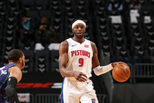 Jerami Grant of the Detroit Pistons dribbles during the game against the Charlotte Hornets on March 11, 2021 at Spectrum Center in Charlotte, North...