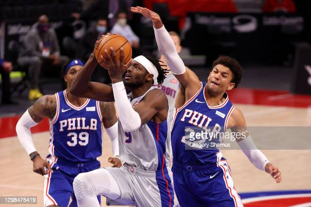 Jerami Grant of the Detroit Pistons tries to get to the basket past Matisse Thybulle of the Philadelphia 76ers during the second half at Little...
