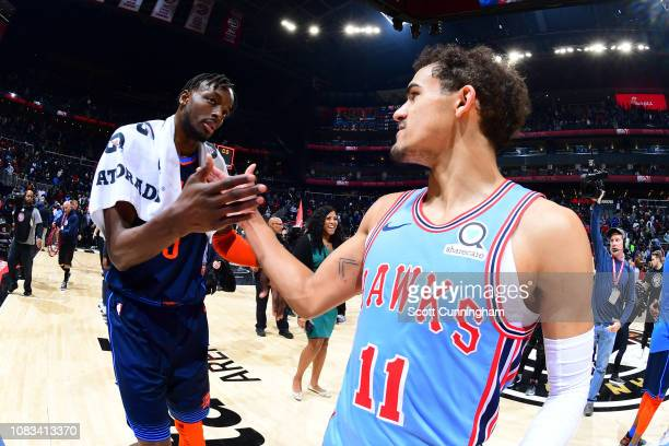 Jerami Grant of the Oklahoma City Thunder and Trae Young of the Atlanta Hawks exchange handshakes after the game on January 15 2019 at State Farm...