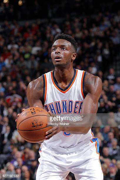 Jerami Grant of the Oklahoma City Thunder attempts a free throw shot against the Sacramento Kings on November 23 2016 at Golden 1 Center in...