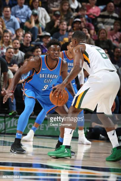 Jerami Grant of the Oklahoma City Thunder defends against the Utah Jazz on October 21 2017 at Vivint Smart Home Arena in Salt Lake City Utah NOTE TO...
