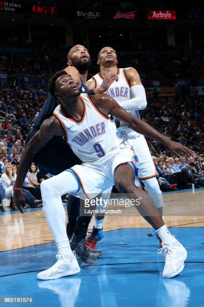 Jerami Grant of the Oklahoma City Thunder defends his position during the game against the Minnesota Timberwolves on October 22 2017 at Chesapeake...