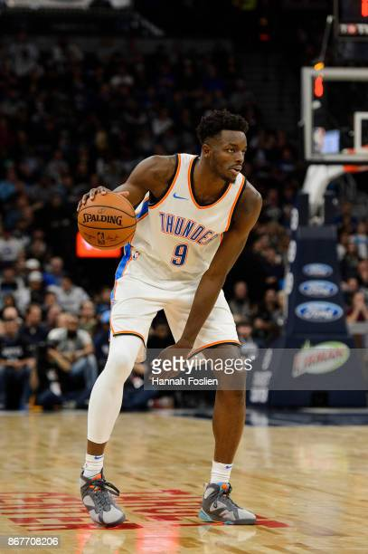 Jerami Grant of the Oklahoma City Thunder dribbles the ball against the Minnesota Timberwolves during the game on October 27 2017 at the Target...