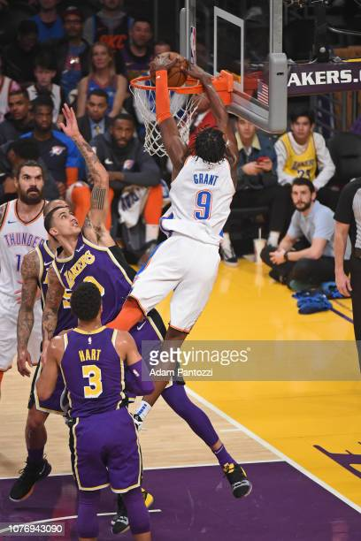 Jerami Grant of the Oklahoma City Thunder drives to the basket during the game against Los Angeles Lakers on January 2 2019 at STAPLES Center in Los...
