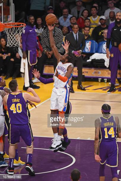 Jerami Grant of the Oklahoma City Thunder drives to the basket during the game against the Los Angeles Lakers on January 2 2019 at STAPLES Center in...