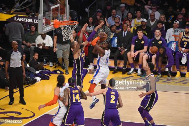Jerami Grant of the Oklahoma City Thunder drives to the basket during the game against Tyson Chandler of the Los Angeles Lakers on January 2 2019 at...