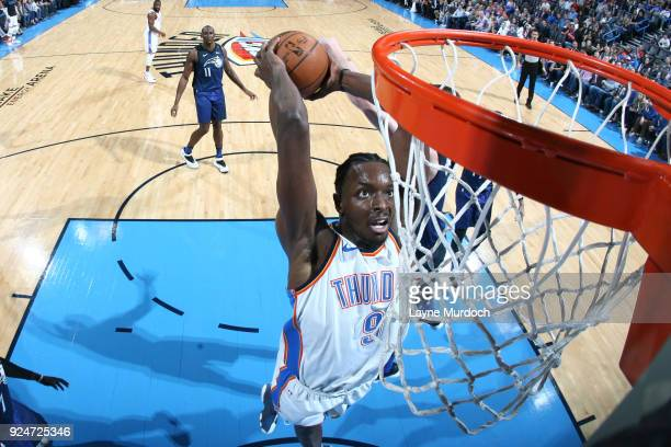 Jerami Grant of the Oklahoma City Thunder drives to the basket during the game against the Orlando Magic on February 26 2018 at Chesapeake Energy...