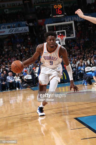 Jerami Grant of the Oklahoma City Thunder drives to the paint during the game against the Chicago Bulls on December 17 2018 at Chesapeake Energy...