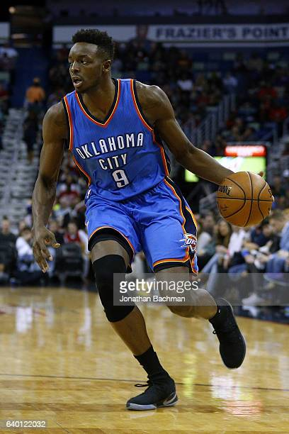 Jerami Grant of the Oklahoma City Thunder drives with the ball during the second half of a game against the New Orleans Pelicans at the Smoothie King...
